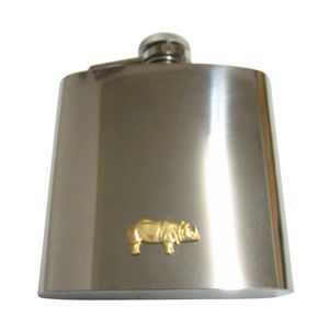 Gold Toned Small Rhino Pendant 6oz Flask